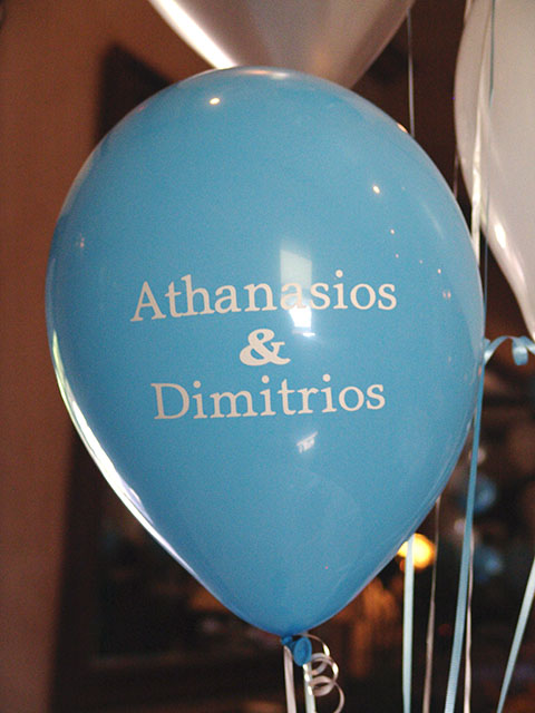printed balloons greek baptism