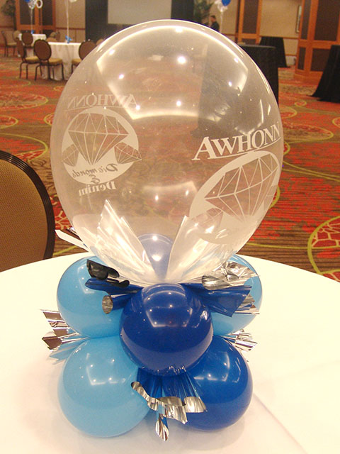 Very special printed balloon centerpieces denver