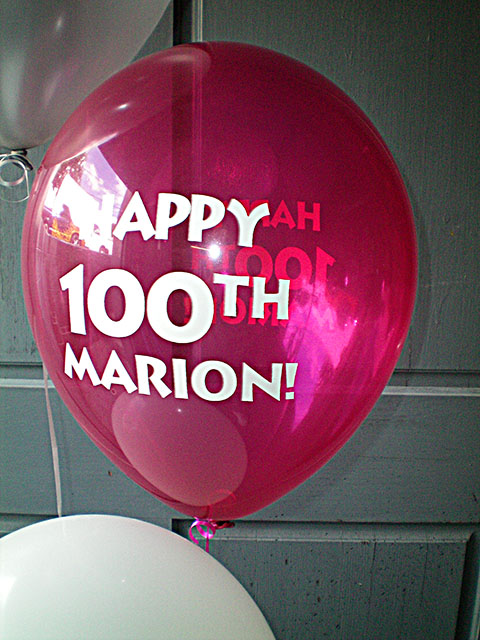 Special 100th birthday balloons